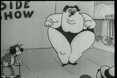 Cartoon of large dancing lady side show attraction