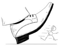 Cartoon of Large Foot Shoe Ready to Step Down on the Businessman. Cartoon stick man drawing conceptual illustration of large foot in shoe ready to step down on Stock Image