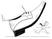 Cartoon of Large Foot Shoe Ready to Step Down on the Businessman. Cartoon stick man drawing conceptual illustration of large foot in shoe ready to step down on Stock Photography