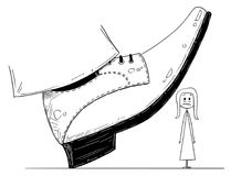 Cartoon of Large Foot Shoe Ready to Step Down on the Businesswoman. Cartoon stick man drawing conceptual illustration of large foot in shoe ready to step down on Stock Photos