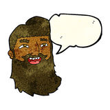 cartoon laughing bearded man with speech bubble Royalty Free Stock Photo