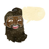 cartoon laughing bearded man with speech bubble Royalty Free Stock Photography