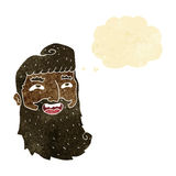 cartoon laughing bearded man with thought bubble Stock Photos