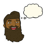 cartoon laughing bearded man with thought bubble Stock Images