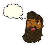 cartoon laughing bearded man with thought bubble Stock Photography