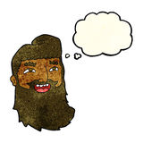 cartoon laughing bearded man with thought bubble Stock Photo