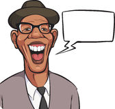 Cartoon laughing black man in hat with speech bubble Royalty Free Stock Image