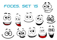 Cartoon laughing faces with googly eyes. Laughing and toothy smiling funny faces with big googly eyes in cartoon comic style for humor caricature or avatar Royalty Free Stock Photos