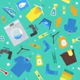 Cartoon Laundry Background Pattern. Vector Stock Photos