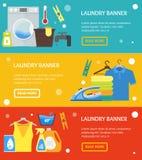 Cartoon Laundry Banner Horizontal Set. Vector Stock Photography