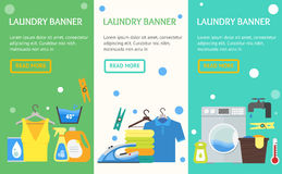 Cartoon Laundry Banner Vecrtical Set. Vector Stock Images