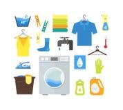 Cartoon Laundry Set. Vector Stock Images