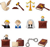 Cartoon law icons Royalty Free Stock Images