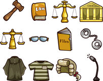Cartoon law icons Stock Photos