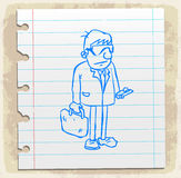 Cartoon lawyer on paper note, vector illustration.  Royalty Free Stock Photo