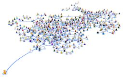 Cartoon Layered System, Outstanding. Crowd of small symbolic 3d figures linked by lines layered network system, one standing out, over white, horizontal Stock Photos