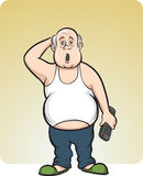 Cartoon lazy fat man Stock Photography