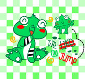Cartoon leap of frogs.  Stock Photo