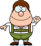 Cartoon Lederhosen Boy Waving Stock Image