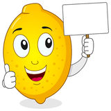 Cartoon Lemon Holding a Blank Banner stock image