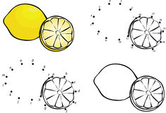 Cartoon lemon. Vector illustration. Coloring and dot to dot game Royalty Free Stock Images