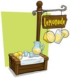 Cartoon lemonade vendor booth market wooden stand. Cartoon fresh lemonade vendor booth or shop market wooden stand. Wooden sign with text Lemonade. Vector icon royalty free illustration