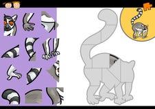 Cartoon lemur jigsaw puzzle game. Cartoon Illustration of Education Jigsaw Puzzle Game for Preschool Children with Funny Lemur Animal Character vector illustration