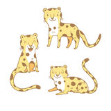 Cartoon leopards set. Cute cartoon leopards set. Three little wild kitten. Funny african animals. Children's illustration. Collection for kids. Vector image Stock Photography