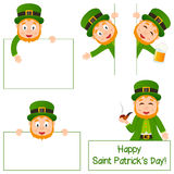 Cartoon Leprechaun and Banners Set. Collection of five cartoon Leprechaun characters with blank banner in different positions and expressions, isolated on white Stock Photography