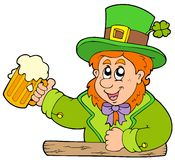 Cartoon leprechaun with beer Royalty Free Stock Photo