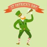 Cartoon leprechaun with beer Stock Photography