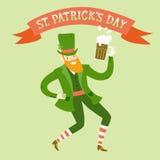 Cartoon leprechaun with beer Stock Photos