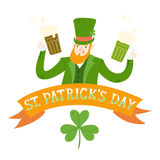 Cartoon leprechaun with beer Royalty Free Stock Image