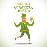 Cartoon leprechaun with beer Stock Images