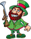 Cartoon Leprechaun cowboy with blunderbuss. Isolated on white Royalty Free Stock Image