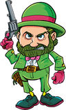 Cartoon Leprechaun cowboy with six gun. Isolated on white Stock Photos
