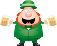 Cartoon Leprechaun Drinking Beer Royalty Free Stock Image