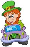 Cartoon leprechaun driving car Royalty Free Stock Photos