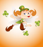 Cartoon Leprechaun Girl Stock Photography