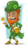 Cartoon leprechaun with gold coin and beer Stock Photo