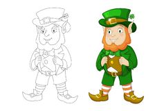 Cartoon Leprechaun in green frock coat and top hat with four-leaf clover stock illustration