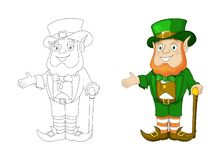 Cartoon Leprechaun in green frock coat and top hat present something vector illustration