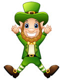 Cartoon leprechaun joyful jumping Royalty Free Stock Images