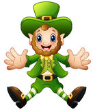Cartoon Leprechaun jumping Royalty Free Stock Image