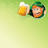 Cartoon Leprechaun with Mug of Ale. Vector Image Stock Photography