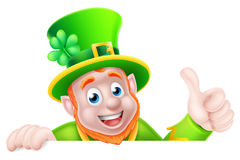 Cartoon Leprechaun Peeking Over Sign Stock Photography