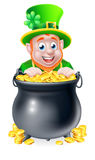 Cartoon Leprechaun and Pot of Gold Stock Photos
