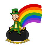 Cartoon leprechaun sitting on a pot of gold Stock Images