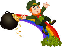 Cartoon leprechaun sliding down the rainbow Stock Photography