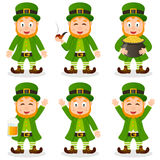 Cartoon Leprechaun St. Patrick s Day Set. Collection of six cartoon Leprechaun characters in different positions and expressions, isolated on white background
